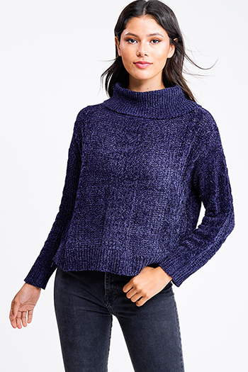 $20 - Cute cheap navy blue tunic - Navy blue chenille cable knit cowl neck long sleeve boho sweater top