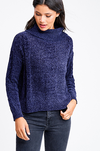 $15 - Cute cheap boho crochet long sleeve top - Navy blue chenille cable knit cowl neck long sleeve boho sweater top