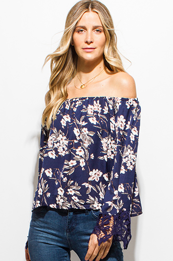 $15 - Cute cheap backless boho crop top - navy blue cherry blossom floral print long sleeve crochet lace trim off shoulder boho top