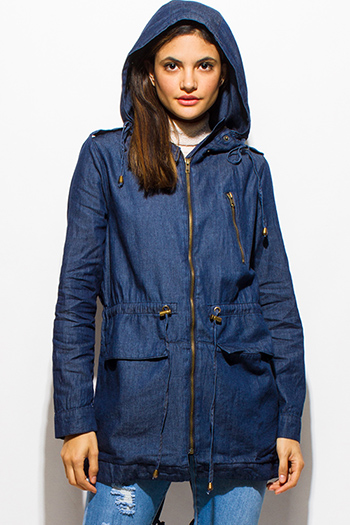 $25 - Cute cheap textured teal blue single button fitted blazer jacket top - navy blue cotton chambray utility cargo hooded pocketed anorak trench coat jacket