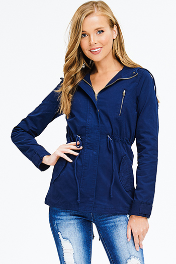 $25 - Cute cheap print fringe jacket - navy blue cotton zip up drawstring waist hooded pocketed cargo anorak jacket