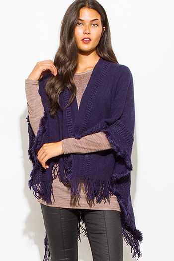 $15 - Cute cheap cobalt blue textured open front hooded fuzzy sweater knit cardigan vest top - navy blue crochet knit fringe trim open front shawl poncho cardigan jacket