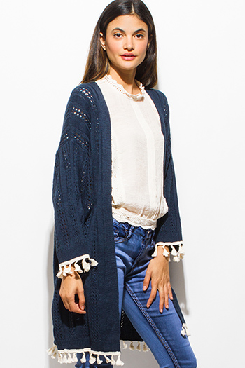 $15 - Cute cheap black crochet trim cotton gauze resort wide leg pants - navy blue crochet lace tassel fringe trim open front boho sweater knit cardigan