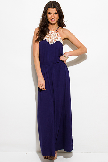 $20 - Cute cheap crepe slit sun dress - navy blue crochet panel halter racer back evening boho maxi sun dress