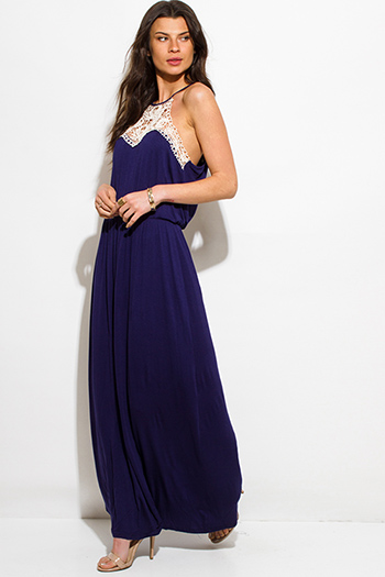 $20 - Cute cheap crepe wrap evening dress - navy blue crochet panel halter racer back evening boho maxi sun dress