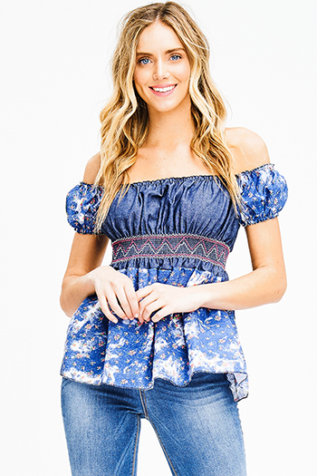 $7 - Cute cheap print open back jumpsuit - navy blue denim floral print smocked off shoulder short sleeve boho top