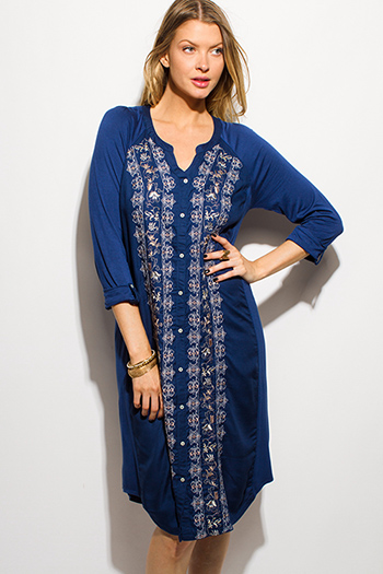 $15 - Cute cheap boho kimono dress - navy blue embroidered long sleeve boho peasant midi shirt dress