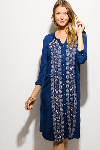 $15 - Cute cheap blue chiffon backless dress - navy blue embroidered long sleeve boho peasant midi shirt dress