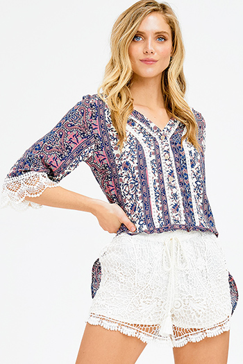 $15 - Cute cheap blue washed denim mid rise distressed frayed ripped skinny fit jeans - navy blue ethnic paisley print crochet lace trim quarter sleeve boho button up blouse top