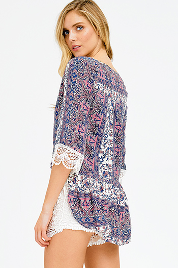 $12 - Cute cheap print mesh sheer top - navy blue ethnic paisley print crochet lace trim quarter sleeve boho button up blouse top