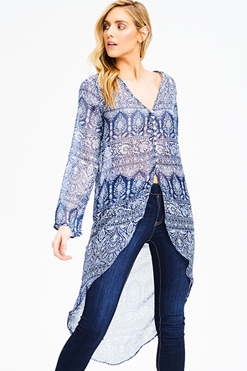$15 - Cute cheap blue washed denim mid rise destroyed ripped skinny jeans - navy blue ethnic print sheer chiffon v neck long sleeve high low boho beach cover up top