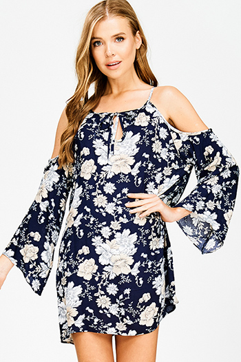 $15 - Cute cheap backless crochet mini dress - navy blue floral print halter cold shoulder long bell sleeve boho shift mini sun dress