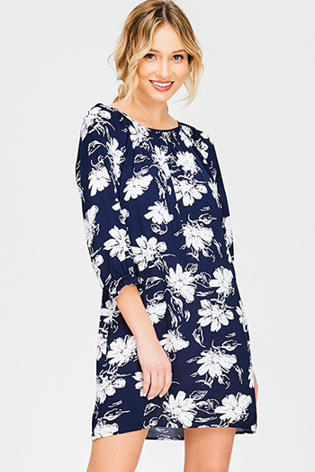 $15 - Cute cheap slit sun dress - navy blue floral print off shoulder quarter sleeve boho shift mini dress