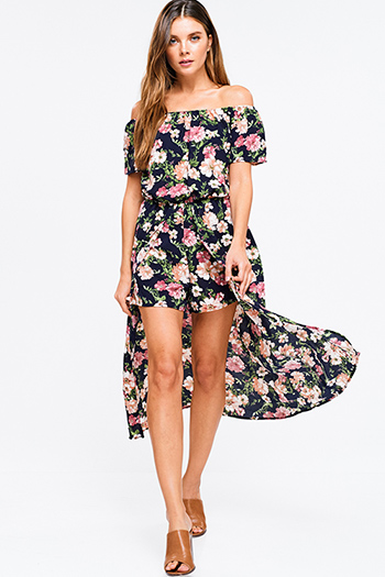 $25 - Cute cheap ribbed fitted sexy party skirt - Navy blue floral print off shoulder short sleeve boho evening romper maxi skirt