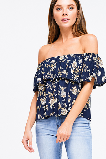 $15 - Cute cheap mauve pink ruffle one shoulder strapless pocketed party sexy club harem jumpsuit - Navy blue floral print ruffle off shoulder boho crop top