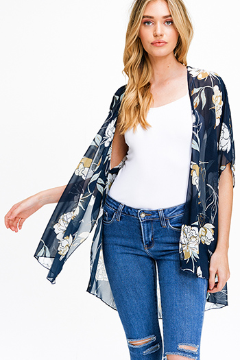 $15 - Cute cheap taupe beige faux suede fringe trim open front boho vest top - Navy blue floral print sheer chiffon short sleeve tie front boho kimono top