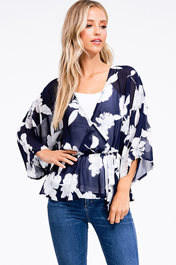 $20 - Cute cheap black floral print off shoulder long bell sleeve boho top - Navy blue floral print sheer chiffon surplice long kimono sleeve boho top