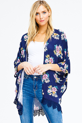 $15 - Cute cheap blue washed denim mid rise distressed frayed ripped skinny fit jeans - navy blue floral print short dolman sleeve open front boho kimono cardigan top