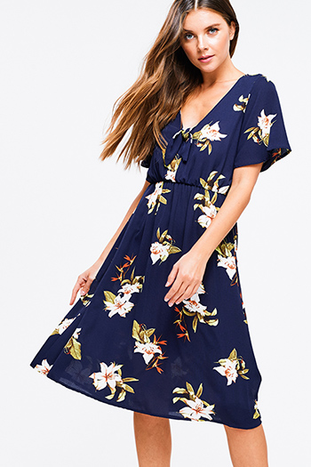 $20 - Cute cheap blue chambray mini dress - Navy blue floral print short sleeve v neck keyhole tie front pocketed a line boho midi dress