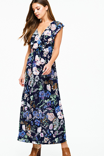 $20 - Cute cheap lime green tropical floral print ruffle tiered criss cross open back boho evening maxi sun dress - Navy blue floral print sleeveless ruffled boho maxi sun dress