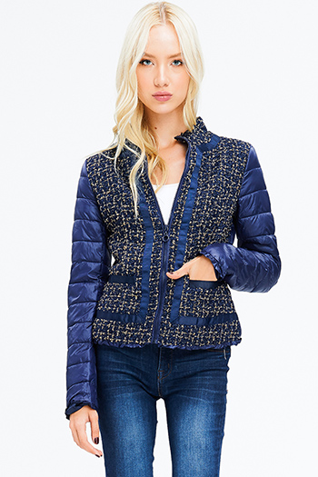 $18 - Cute cheap print fringe jacket - navy blue gold metallic lurex tweed knit pocketed zip up puffer bomber jacket