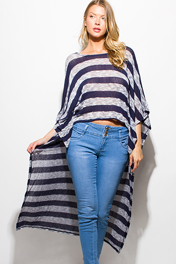 $15 - Cute cheap ruffle poncho - navy blue gray striped sweater knit high low hem boat neck dolman sleeve poncho tunic top