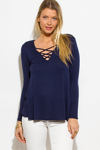 $15 - Cute cheap caged boho tank top - navy blue jersey caged front long sleeve top