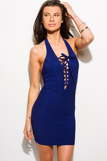 $15 - Cute cheap blue ruffle crochet dress - navy blue laceup halter backless bodycon fitted sexy club mini dress