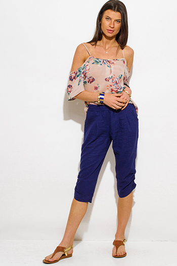 $10 - Cute cheap navy blue linen side ruched cropped harem resort boho lounge pants