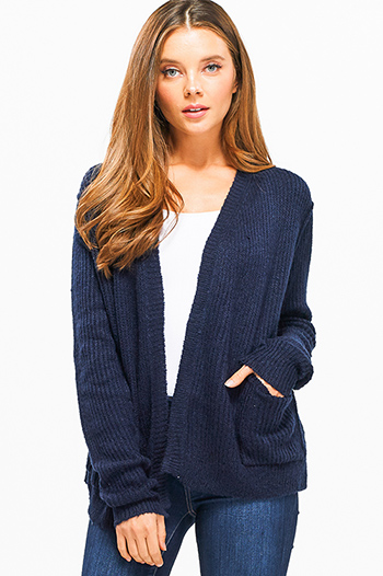$15 - Cute cheap open back wrap jumpsuit - Navy blue long sleeve exposed stitch pocketed open front sweater cardigan