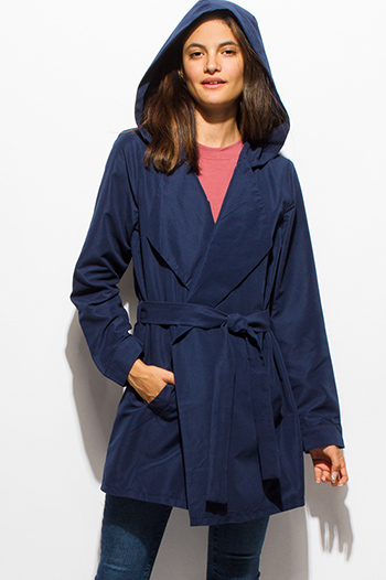 $25 - Cute cheap navy blue long sleeve foldover collar pocketed hooded open front trench coat jacket