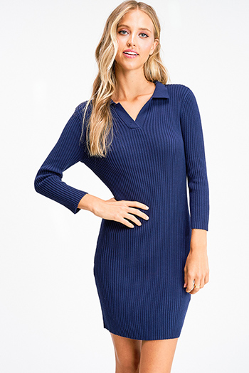$25 - Cute cheap print boho midi dress - Navy blue long sleeve v neck ribbed knit fitted sweater mini dress