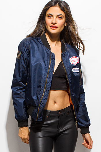 $25 - Cute cheap black zip up stripe banded crop bomber jacket - navy blue military zip up pocketed patch embroidered puff bomber jacket