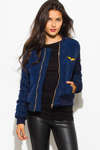 $30 - Cute cheap brown faux leather ribbed bomber moto jacket - navy blue military zip up pocketed patch embroidered puff bomber jacket