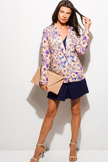 $15 - Cute cheap navy blue multicolor floral print long sleeve boho summer blazer top