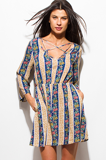 $15 - Cute cheap ruffle boho sun dress - navy blue multicolor striped floral print caged front long sleeve pocketed boho mini dress