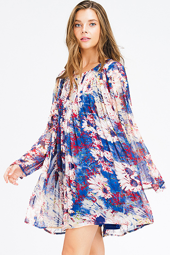 $15 - Cute cheap backless crochet dress - navy blue multicolor watercolor floral print chiffon long sleeve pleated boho shift mini dress