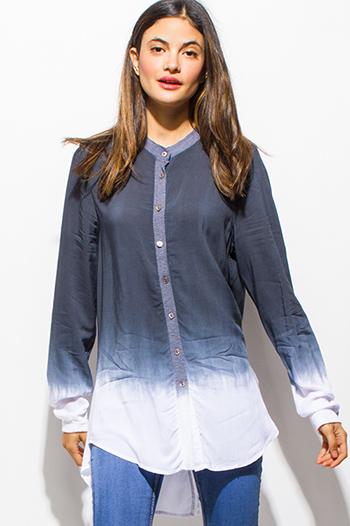 $15 - Cute cheap blue washed denim button up high waisted retro mini skirt - navy blue ombre tie dye long sleeve back vent boho button up tunic blouse top