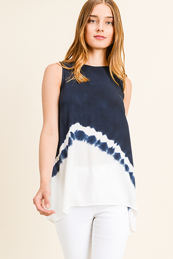 $15 - Cute cheap Navy blue ombre tie dye sleeveless keyhole back boho tunic top