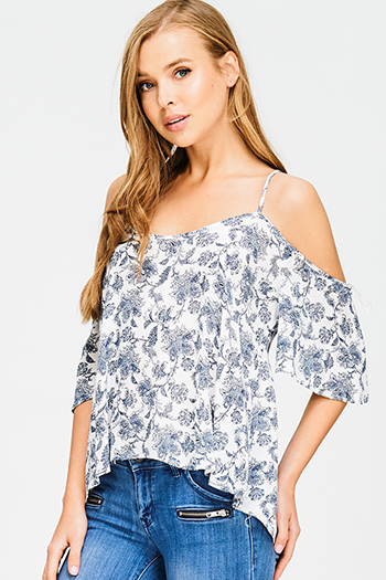 $15 - Cute cheap dusty blue and abstract print strapless open back soft chiffon crop top - navy blue paisley print cold shoulder cut out open back boho blouse top