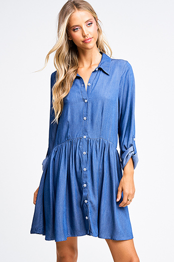 $20 - Cute cheap wrap sexy party sun dress - Navy blue pinstripe chambray long sleeve button up boho a line shirt dress