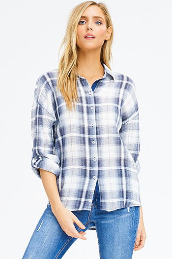 $20 - Cute cheap taupe beige tie dye rayon gauze long bell sleeve button up boho blouse top - navy blue plaid cotton gauze long sleeve button up blouse top