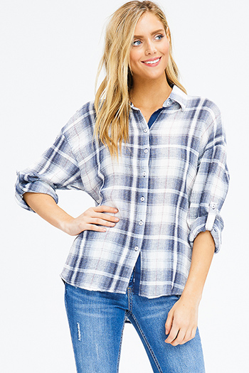 $15 - Cute cheap charcoal gray pinstripe off shoulder ruffle tiered sleeve boho blouse top - navy blue plaid cotton gauze long sleeve button up blouse top