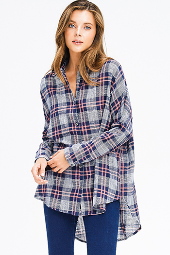 $18 - Cute cheap blue washed denim mid rise distressed frayed ripped skinny fit jeans - navy blue plaid cotton gauze long sleeve high low button up tunic blouse top