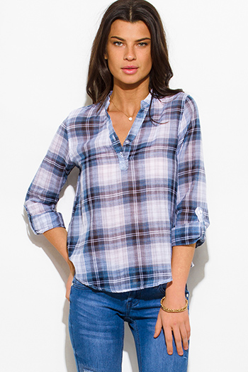$10 - Cute cheap white checker grid print button up long sleeve boho blouse top - navy blue plaid cotton gauze quarter sleeve button up blouse top