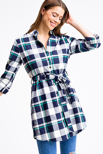 $18 - Cute cheap blue washed denim cuffed short sleeve button up pocketed mini shirt dress - Navy blue plaid flannel long sleeve button up tie waist tunic shirt dress