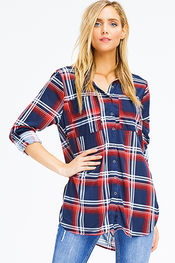 $20 - Cute cheap blue washed denim mid rise distressed frayed ripped skinny fit jeans - navy blue plaid long sleeve button up blouse tunic top