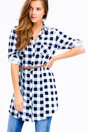$20 - Cute cheap pocketed boho mini dress - navy blue plaid v neck button up long sleeve belted tunic mini shirt dress