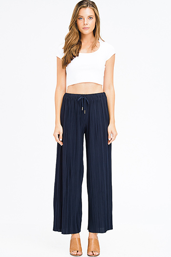 $15 - Cute cheap navy blue sheer crochet fringe trim open front boho kimono cardigan top - navy blue pleated drawstring high waisted wide leg boho culotte pants