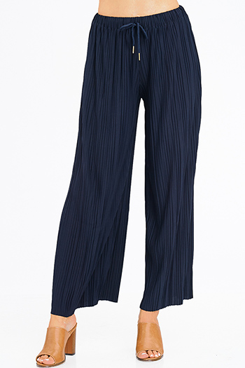 $10 - Cute cheap charcoal gray ribbed knit button embellished evening wide leg capri pants - navy blue pleated drawstring high waisted wide leg boho culotte pants
